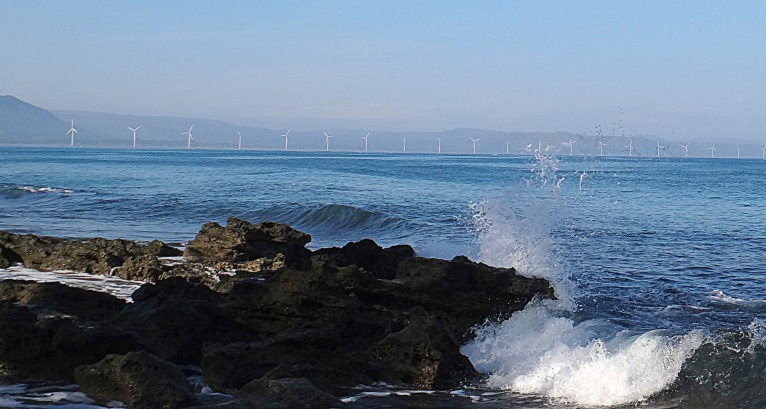 Bangui Windmills viewed from Saud Beach, Pagudpud.