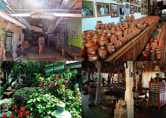 hidden garden, pottery shop and restaurant