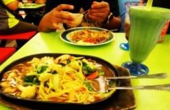 Rice noodles meal at Kota Kinabalu, Malaysia.