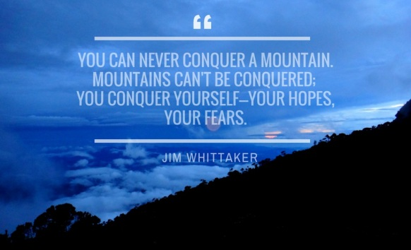 You can never conquer a mountain. You can only conquer yourself.