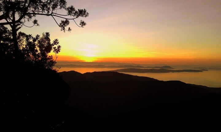 Splendid Sunset in the mountain. Mt. Guiting-Guiting Reverse Traverse Climb.