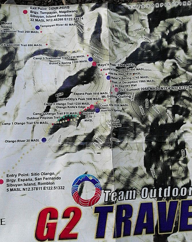 Mt. Guiting Guiting Trail Map for Olango to Tampayan Reverse Traverse Climb