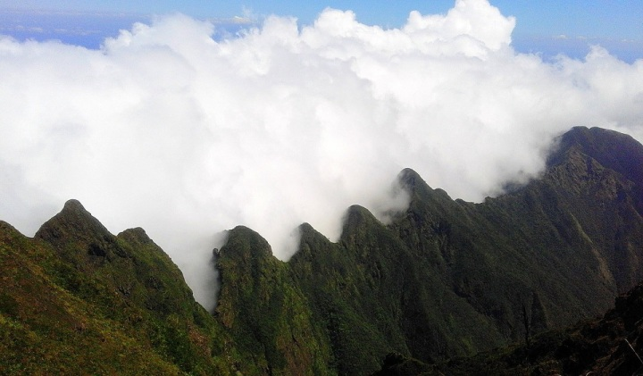 Mt. Guiting Guiting Saw-toothed Peaks covered with clouds during a Reverse Traverse Hike
