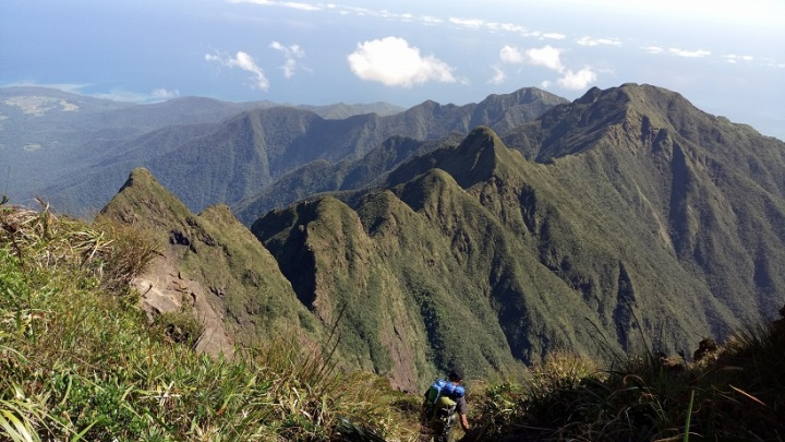 Jagged peaks of Mt. Guiting-Guiting. Reverse Traverse Climb.